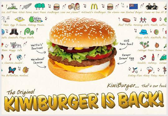 Mc kiwiburger - 紐西蘭 雖然名字叫做Kiwi Burger,但是實際上沒有放奇異果的喲~ 裡邊只有雞蛋和蔬菜...據說是因為人們稱紐西蘭人為kiwibird奇異鳥而取名