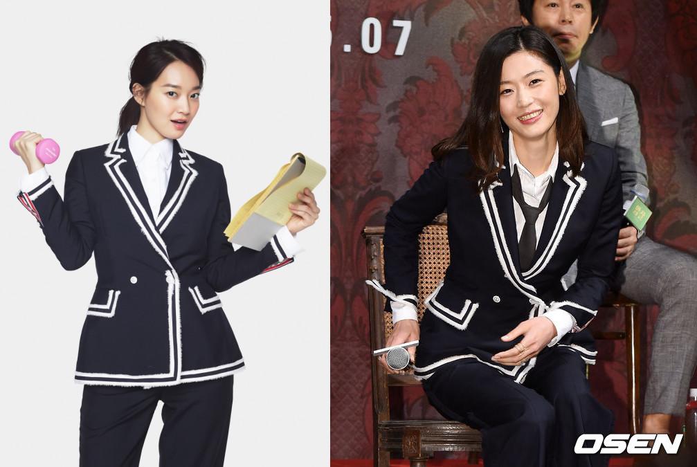 #新慜娥 & 全智賢 同樣的套裝,新慜娥有種幹練的感覺,全智賢則是氣質典雅