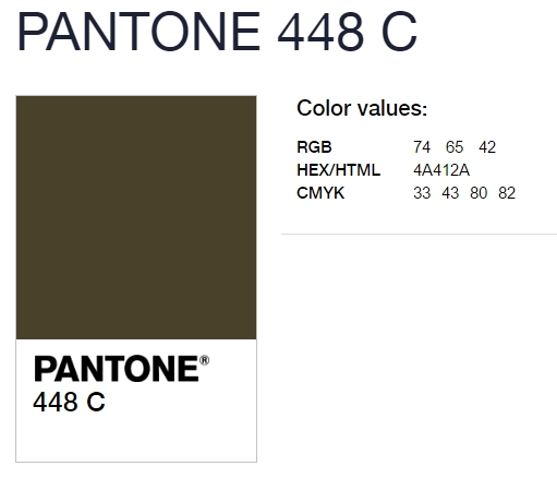 這!Pantone 編號 448C 泥棕綠色 就是由澳洲選出的最醜顏色!