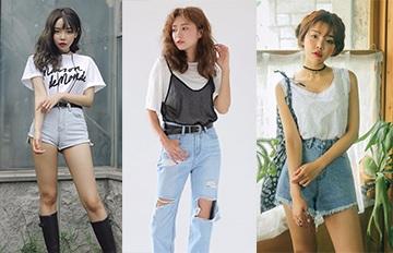 T恤 X 丹寧褲 + __♡只要多加一件單品簡單造型就能馬上飛炫起來