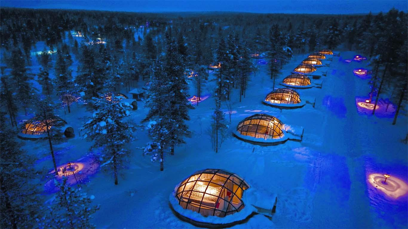 2.芬蘭的卡克斯勞坦恩酒店 有世界上獨一無二的20個玻璃穹頂客房