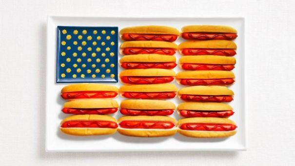 1. 美國 - 熱狗、番茄醬、芥末醬、起司