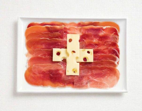 6. 瑞士 - 醃肉、艾美達起司 (名叫charcuterie的食品是類似火腿、香腸等豬、雞肉的副產品) (艾美達是瑞士出產知名的大孔起司)