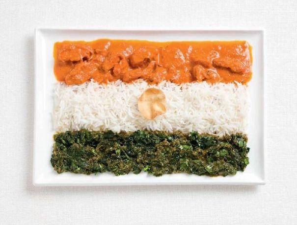14. 印度 - 咖哩、米飯、cheera thoran、脆餅 (cheera thoran一種葉子調出來的醬)