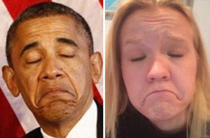 連美國總統歐巴馬也模仿得唯妙唯肖 到底嘴巴要怎麼弄這麼垂?