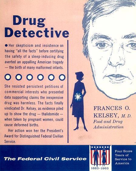 成為女性英雄的凱爾西 直至2005年都一直在FDA工作到90歲 至今仍在世(今年100歲)