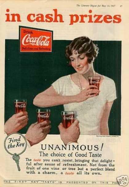 這張圖片是1920年代,可口可樂的廣告! 廣告上以相當明確的風格傳達訴求。 事實上,這樣的廣告風格,受到第一次世界大戰許多的影響~