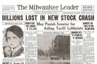 一直被看好的紐約股票市場大跌! 正確來說是「崩潰」。  這件事情,對美國人來說, 等於是和1920年代的繁榮訣別般的意義!