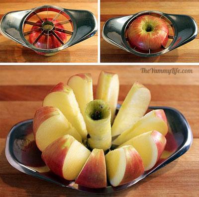 唰!蘋果一秒就切好了! 是不是比手削的還神速啊! (這個連小編都想要購入一個了!)