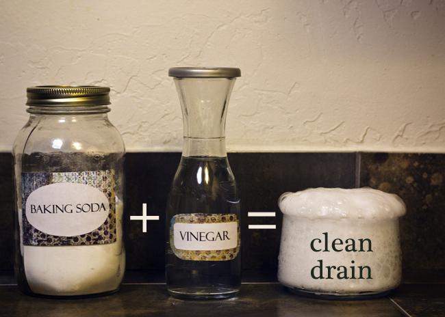 差不多洗完澡的時候,接一盆熱水倒進下水道裡,再倒進一杯蘇打水, 食醋和熱水1:1的比例倒滿杯子後再倒進下水道裡。