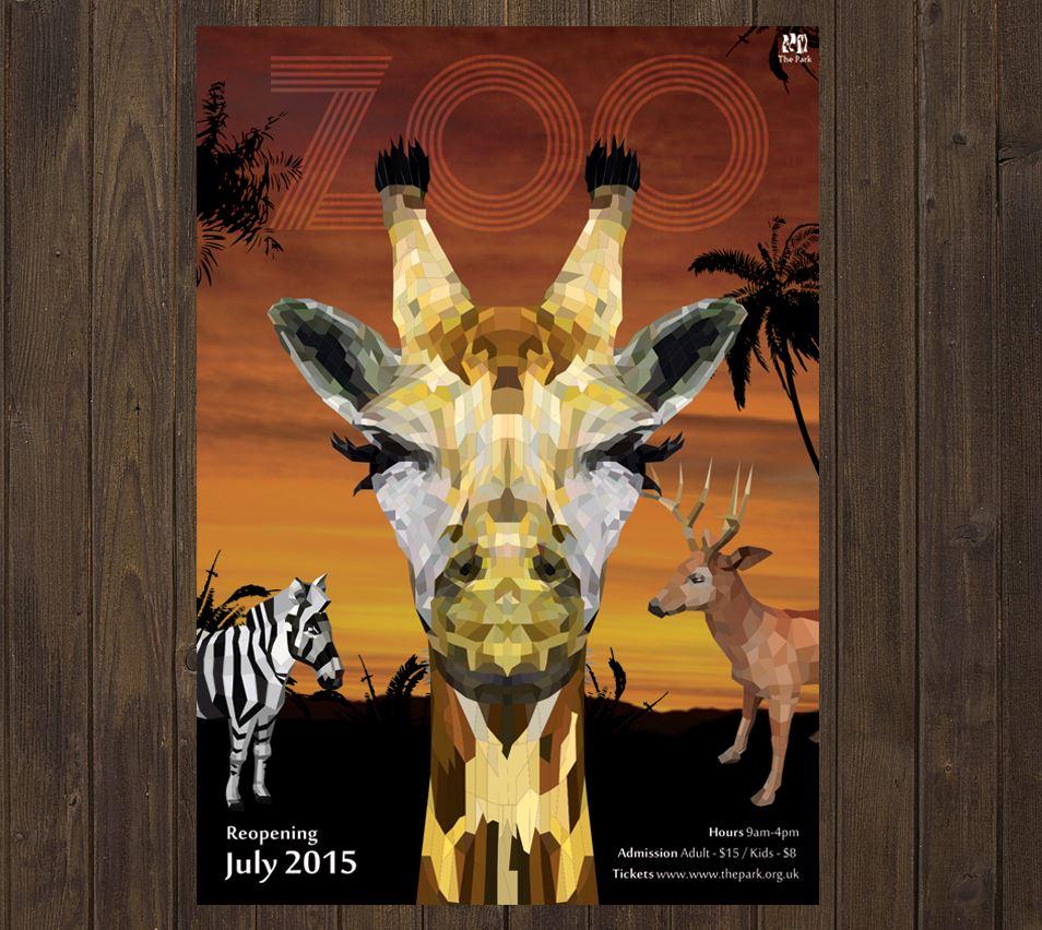 今天要我們就以韓國設計師雪熙的「LOW POLY ART」作品 來介紹這張動物園海報的製作過程喔~