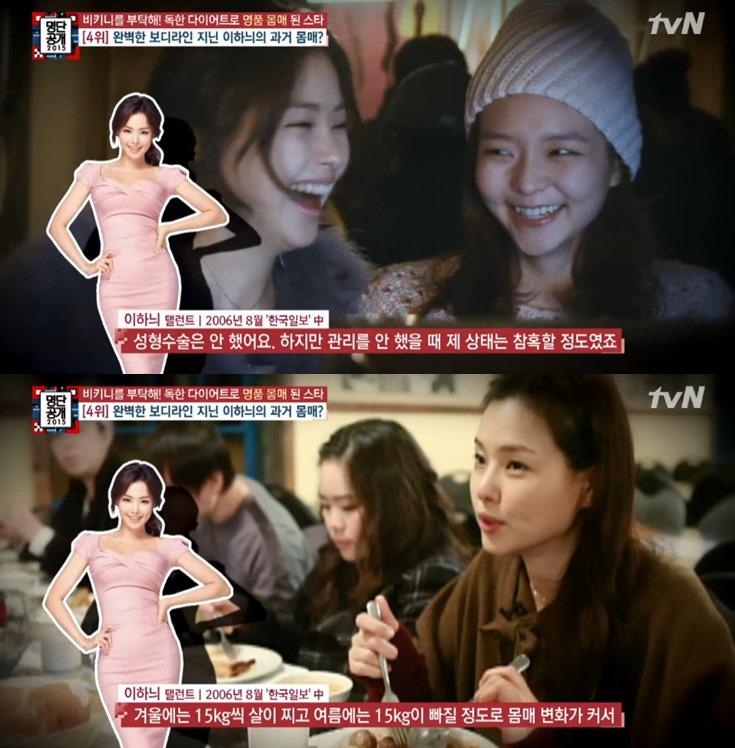 她個人在2006年時,透過韓國日報聲明沒有進行整形手術! 另外表示自己的身材是易胖易瘦型! 不持續進行身材管理的話,曾經有次冬天一下胖了15公斤, 夏天又急瘦了15公斤的紀錄。 (15公斤啊!!!!!!)