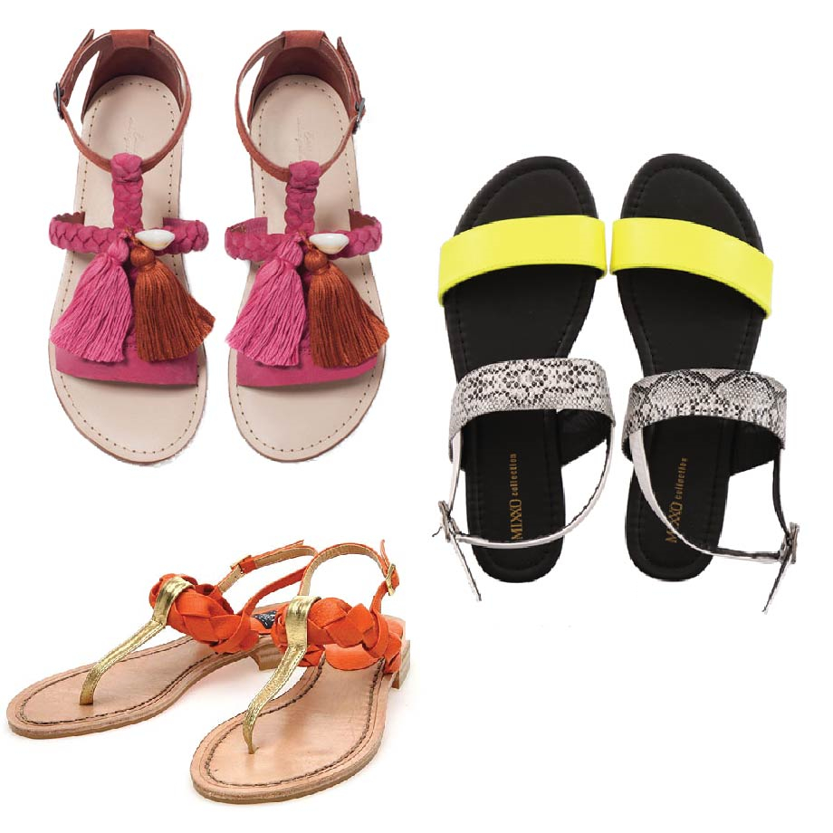 如果希望能夠穿著平底涼鞋,還可以看起來腳長的話(!) 那請選擇腳背上是「T」設計的涼鞋, 或是顏色亮眼的涼鞋唷~ 馬上讓你長高高XDD