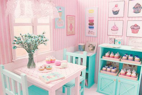 首先是猶如芭比娃娃房間的配色~ 粉紅加薄荷!