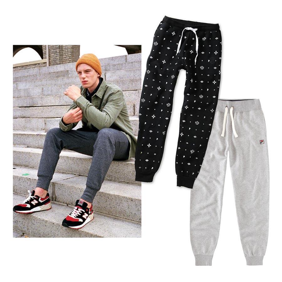 最近在縮口褲這部分,不再只是使用運動材質布料,許多設計上,也都更適合平常的搭配摟!