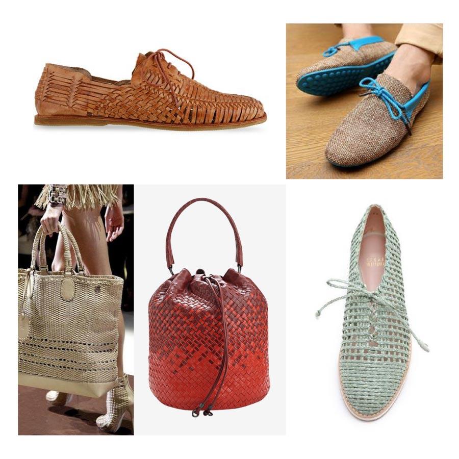 特別是皮製品會使用這種編織法,讓設計更充滿生動活潑感,而且透過編織的隙縫中,更能夠感受到清爽的感覺喔!