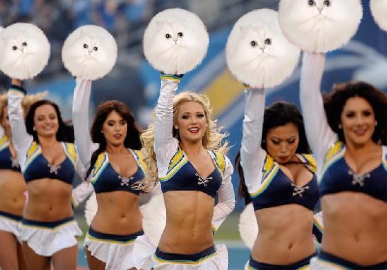 第一次看到白色的啦啦隊的彩球!