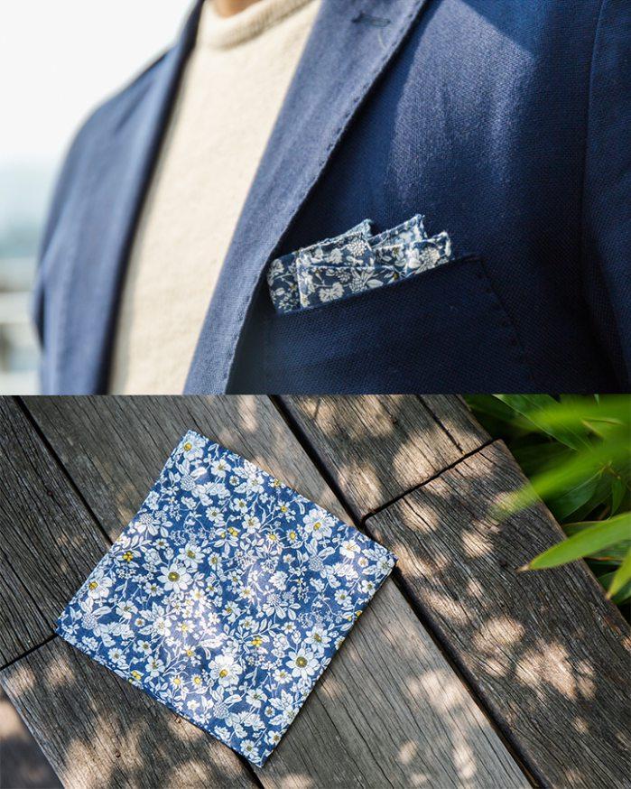 ▶ 西裝袋巾  基本的搭配法~為素色的西裝增添年輕、潮流感