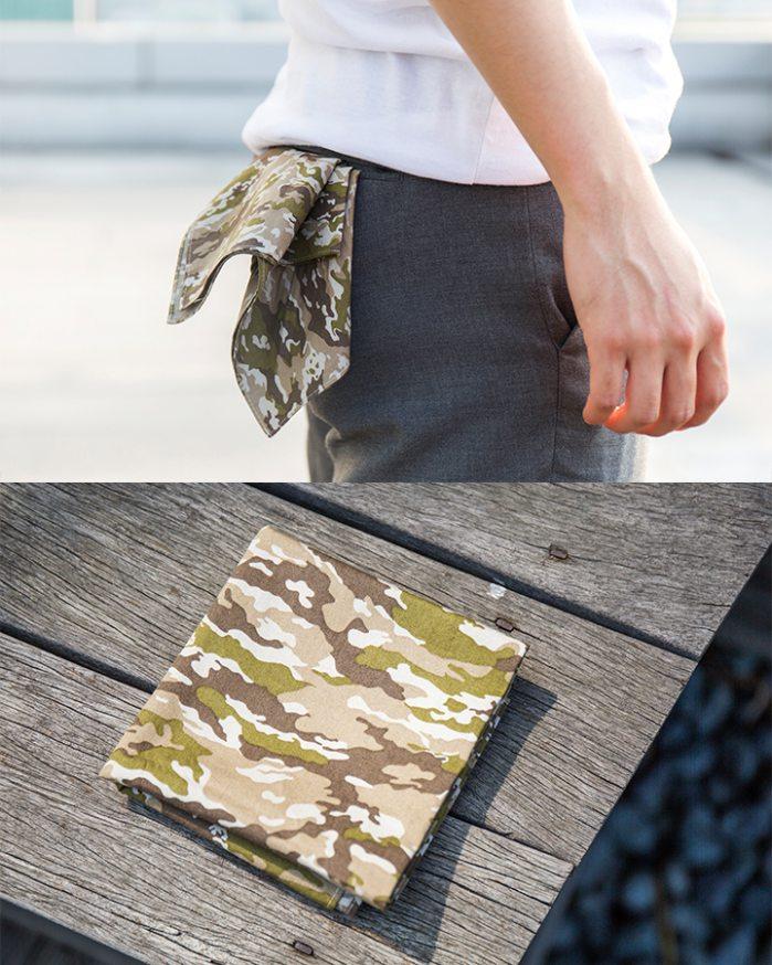 ▶ 後口袋  這是一種比較潮流跟街頭的搭配法~剛剛的是綁在腰帶上,但這個是扎進褲子後面的口袋