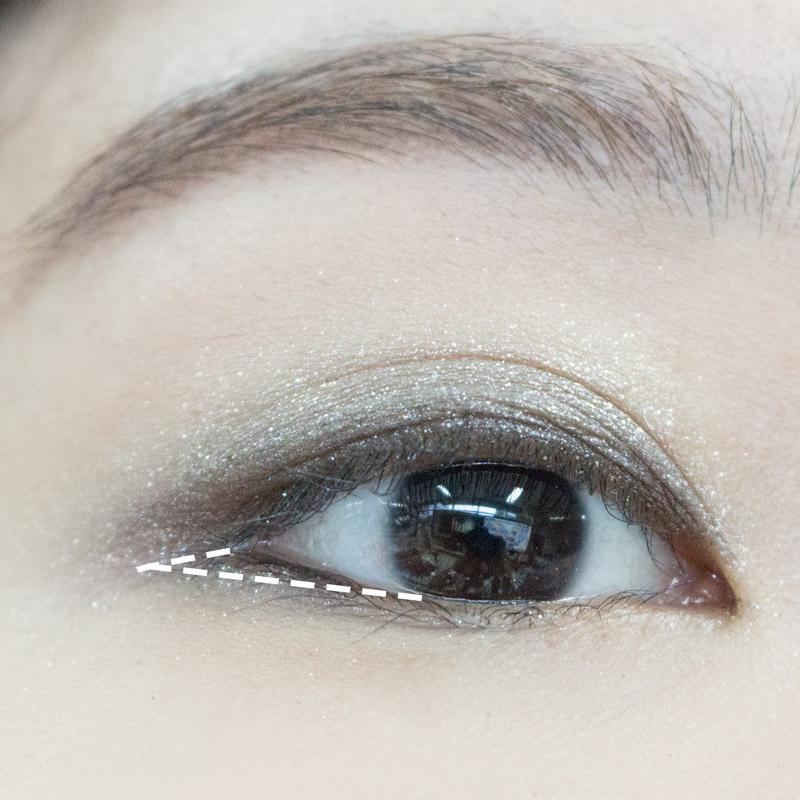 記得,眼尾下方約1/2的空白處(圖中白色虛線內)也需要填滿唷!
