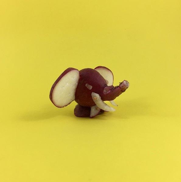 厲害吧~這可是用地瓜做出來的大象唷!