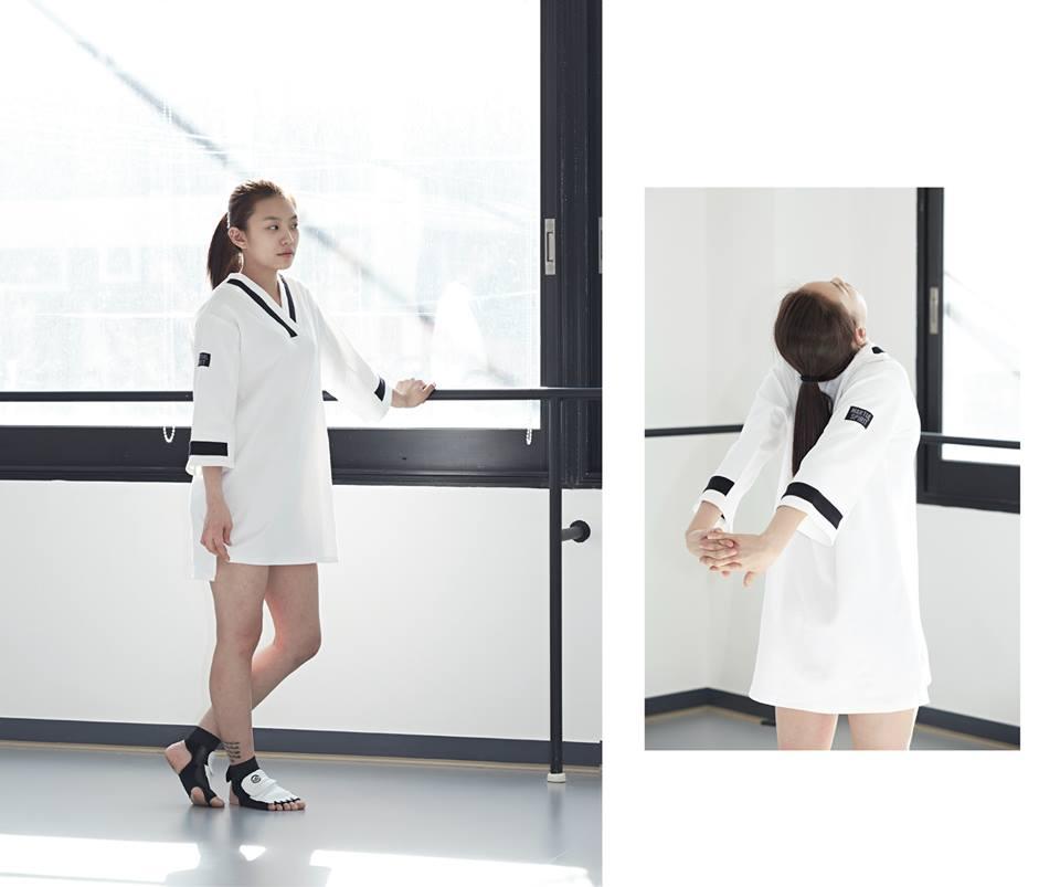 [2015 S/S Martial Jersey Dress] 說到跆拳道,就是白色的設計!前面衣領的切口也呈現出運動的感覺