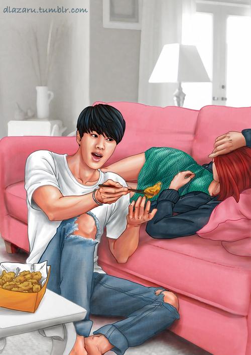 剛下班懶洋洋不想動時,男友願意拿熱騰騰的炸雞餵食,實在讓人感覺備受呵護耶~