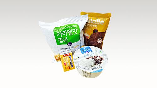 為了夏天而製作的甜點!牛奶冰沙2,500韓元+蜂蜜咖啡拿鐵800韓元+焦糖爆米花1,000韓元+ 焦糖800韓元 = 合計5,100韓元(約台幣145元)