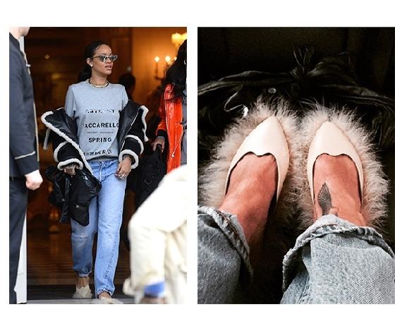 蕾哈娜曾穿著毛毛尖頭鞋在路上趴趴走。