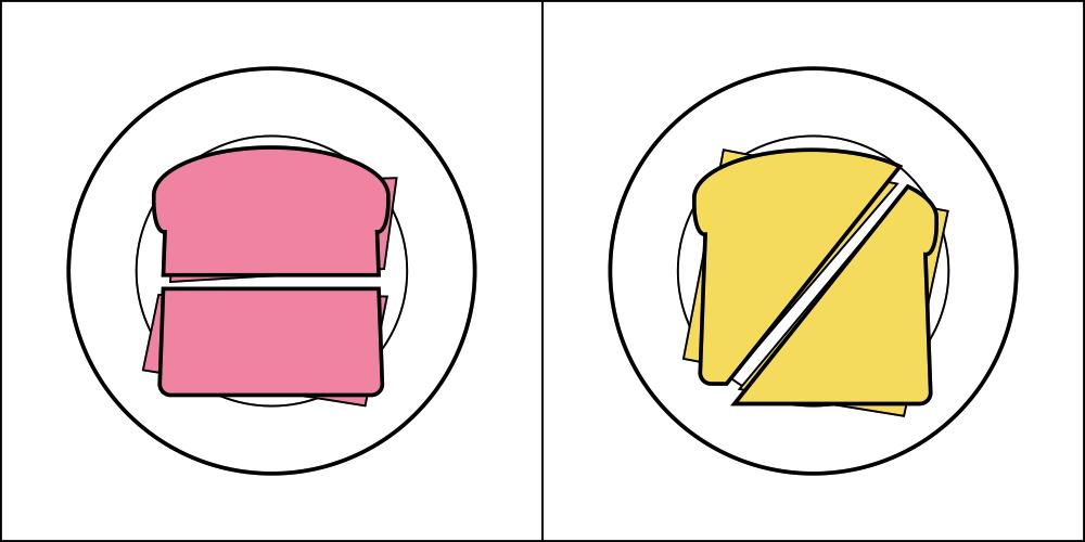 在製作三明治時,喜歡對半切成長方形吃 OR 喜歡對角切成三角形吃