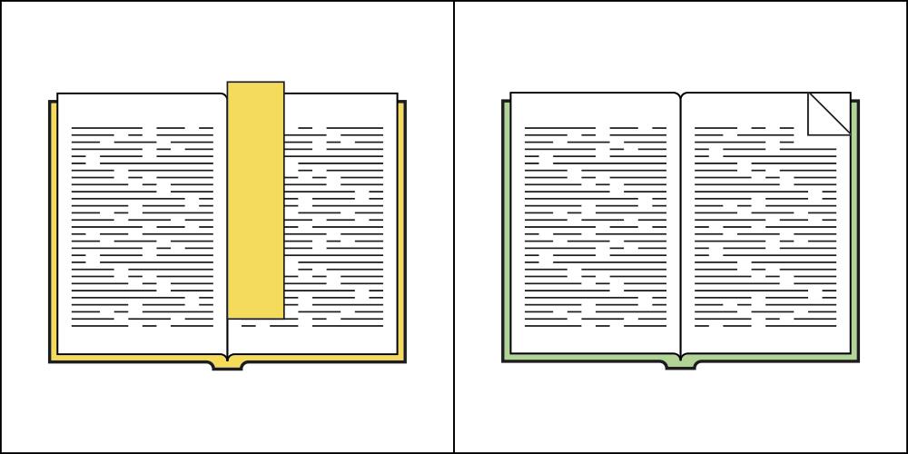 書讀到一半時,會使用書籤紀錄閱讀 OR 折起書角紀錄閱讀