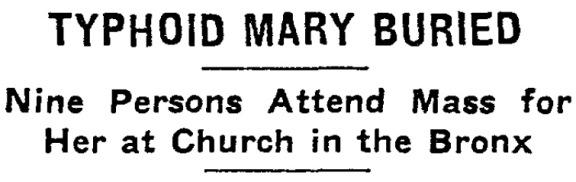 因此「傷寒瑪莉」這個名稱,是在她死後,眾人繼續流傳著她的故事,而起的名稱