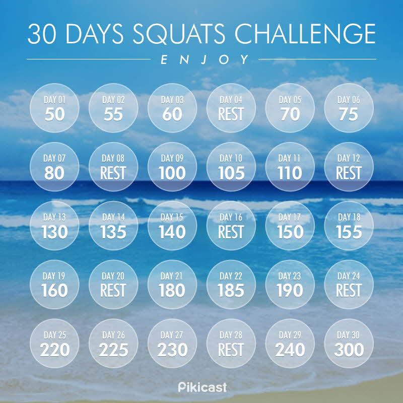 首先我們先設30天為目標!!跟著日曆一起,一天天來運動!!! (圈圈中間是深蹲次數,以動3天,休1天為周期)