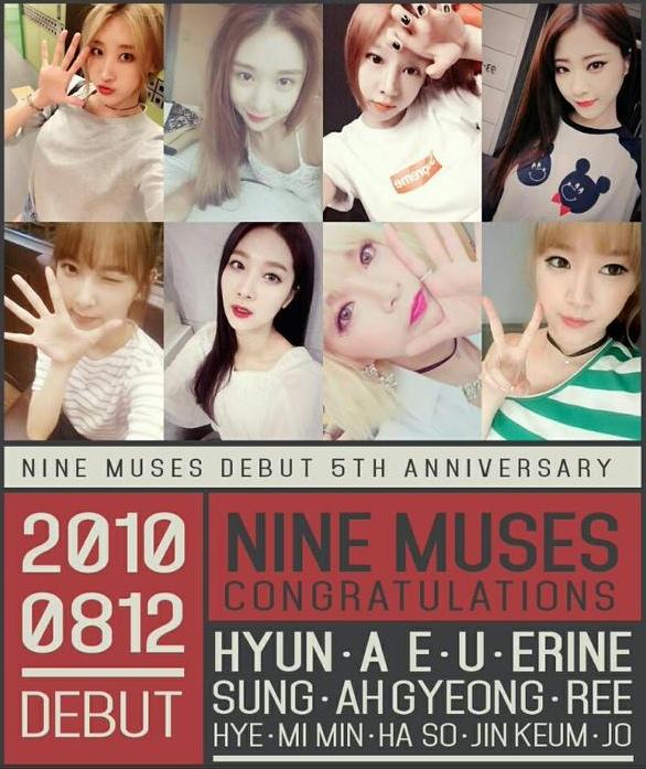 就在不久前剛慶祝出道5周年的Nine Muses!!!!!粗咖粗咖~~~5周年!!!!!