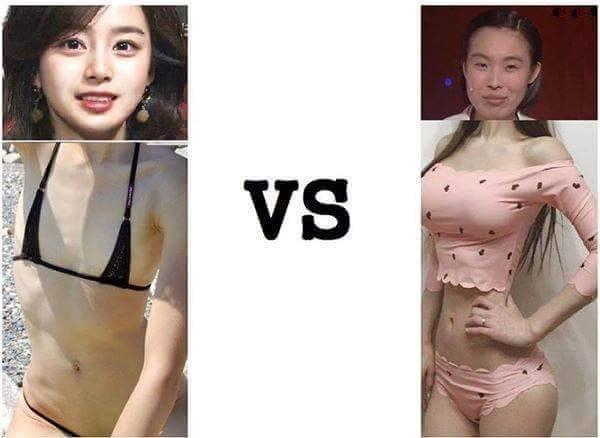 其實小編是覺得左邊是拿掉胸墊後,右邊是女生卸妝後吧XDDD 誰可以兩全其美?真的太難了~
