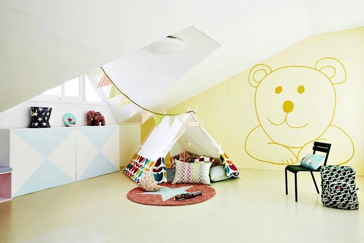牆上的圖案&粉刷都是自己來的唷!是小孩們會很喜歡的熊熊呢♥