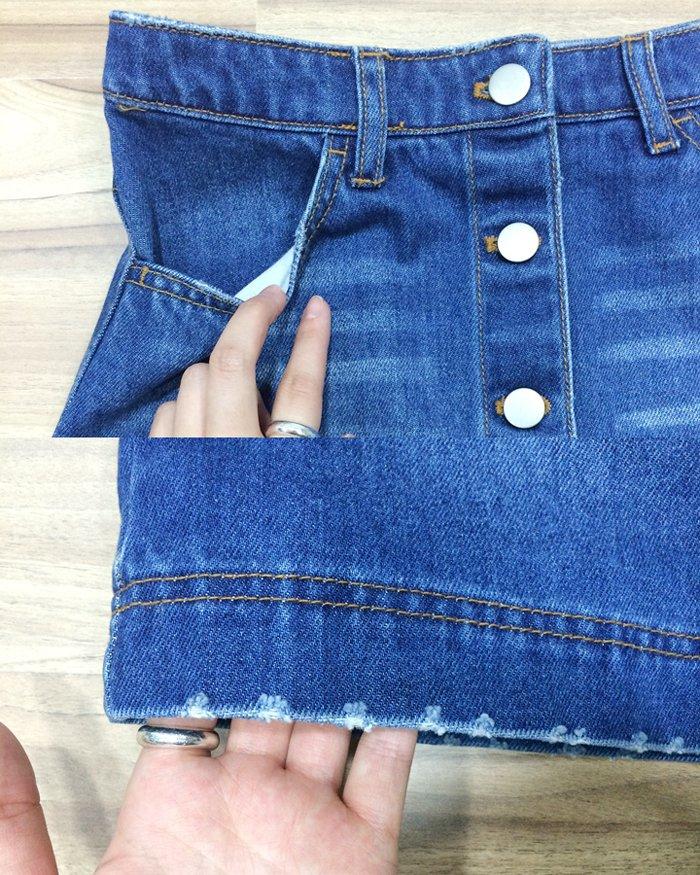 在裙尾的部分,小破壞的設計,在視覺給予了小小的洗舊風!口袋的部分設計也夠深,方便使用