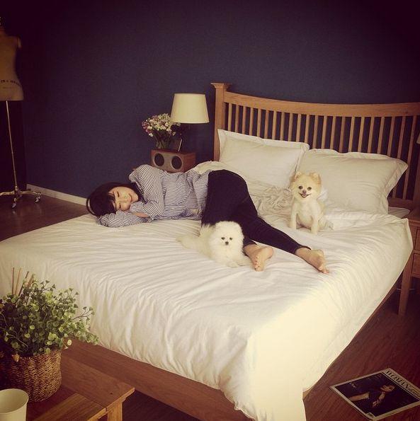 小百合是一個對動物非常的愛心的人哦~ 家裡飼養的2隻寵物狗 Momoko(右)和 Oriko(左)♡
