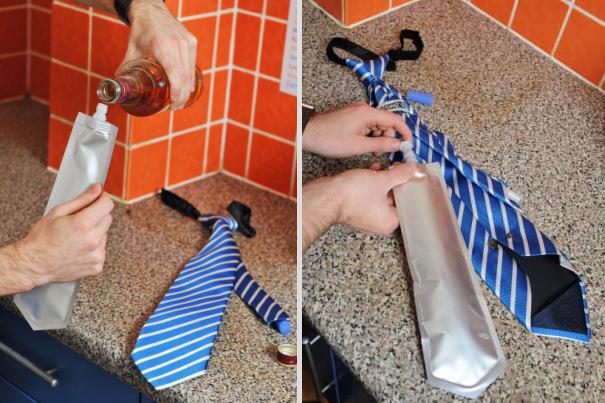 啥.....領帶里還可以暗藏飲料(傻眼) 是不是也可以背著上司上班時候偷偷喝啤酒啊?