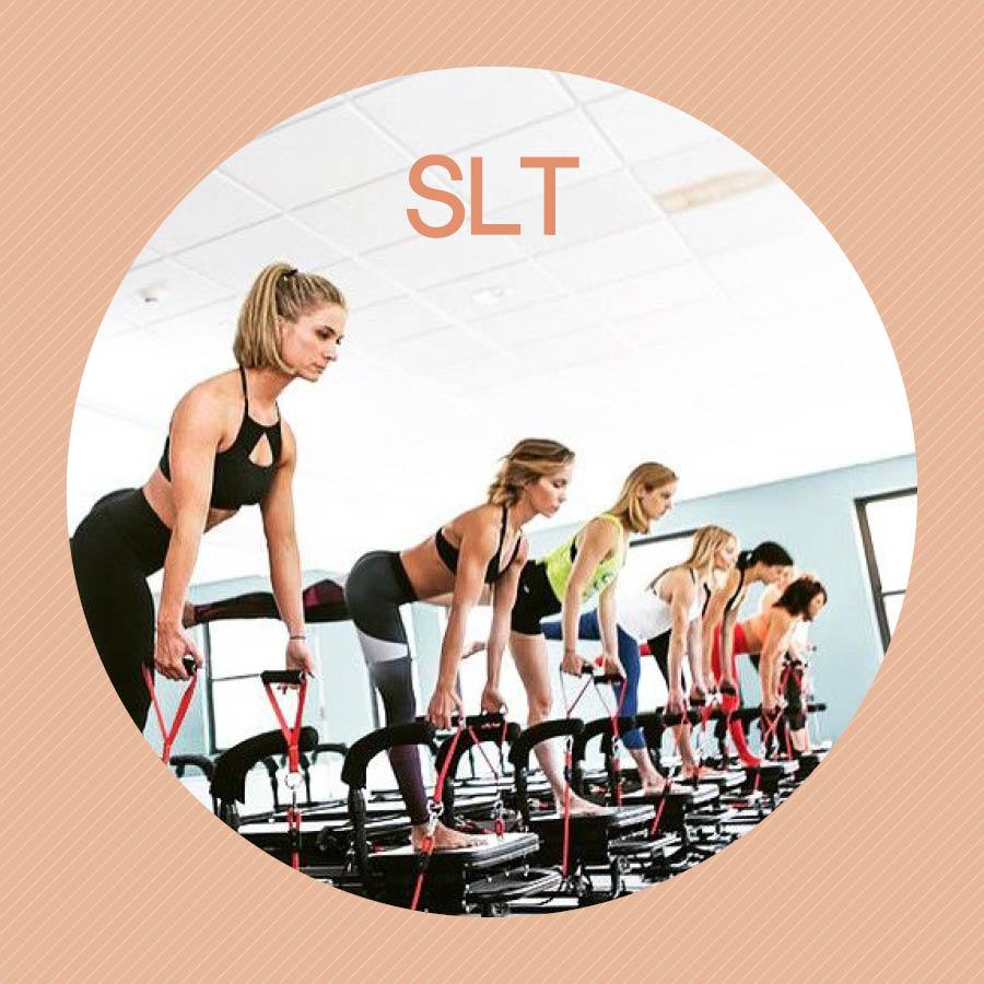 SLT是「Strengthen, Lengthen, Tone」的縮寫,強化身體為中心(Strengthen),延展身體界限(Lengthen),鍛鍊出有彈力的(Tone)健康身體。