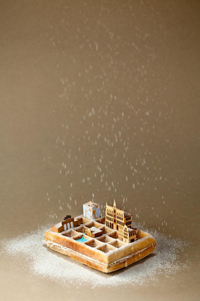 #. 布魯塞爾 x 鬆餅 城市+代表美食 完美結合的插畫攝影作品