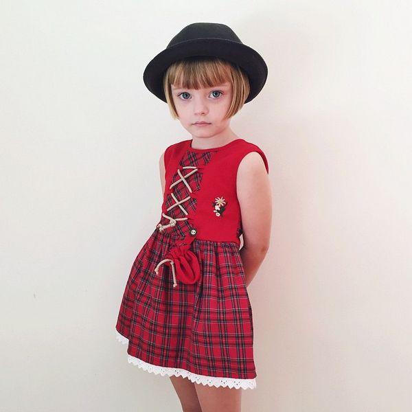 格子連身裙♡