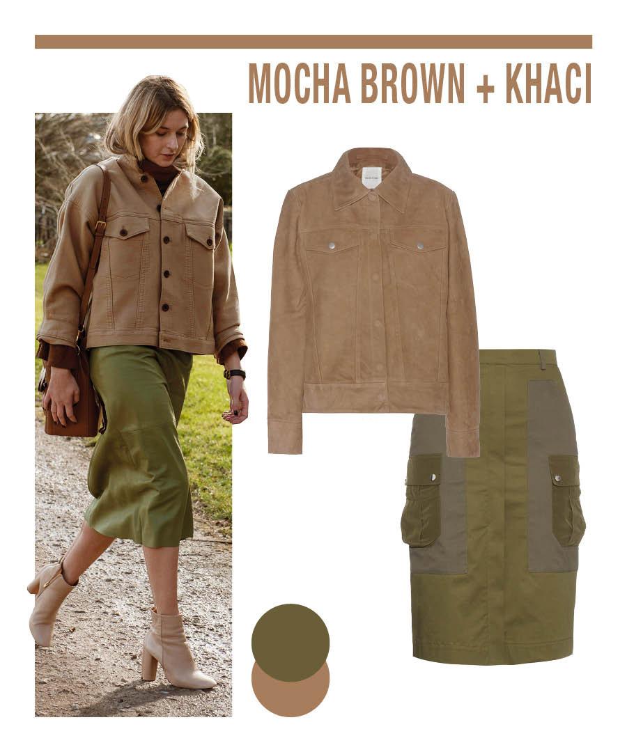 和棕色一樣,與秋密不可分的代表顏色還有卡其色... 棕色搭配卡其色,再配以綠色一字裙達到色彩的調和~