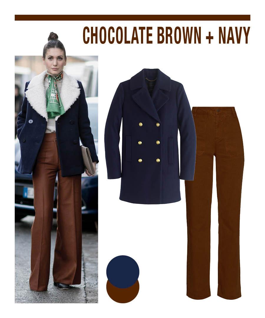 深色的海軍藍搭配巧克力棕也是非常適合的~因其為互補色...☆