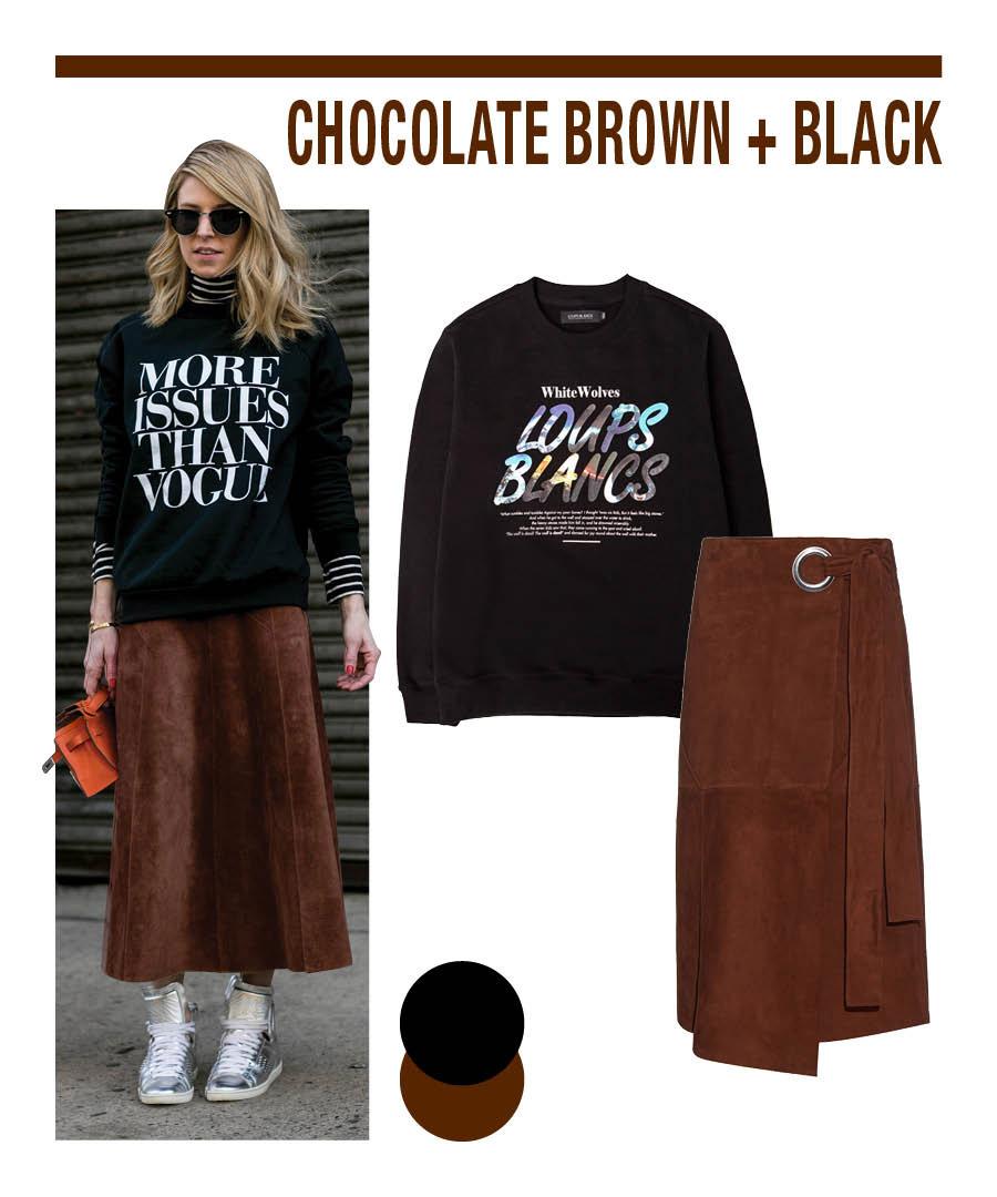 巧克力棕+黑,這是小編要推薦的Daily Look搭配。 如果感覺不太會搭配棕色的衣服的話,嘗試一下小編今天介紹的搭配吧!