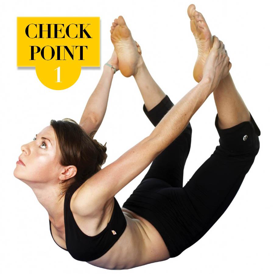 弓式(Dhanurasana)動作注意要點: 1 掌握身體的的平衡和兩腿的高度