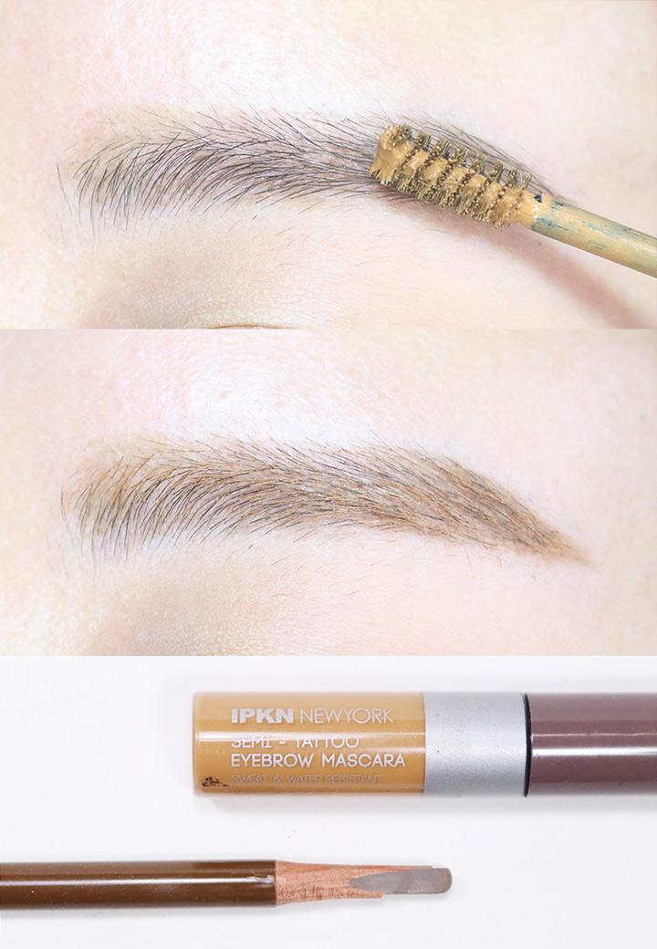 接著用淺棕色眉膏,自然的填滿中間部分,一字眉就簡單完成了!如果是黑色頭髮的話建議用更深一點的顏色,太淡的話會跟頭髮顏色不搭。