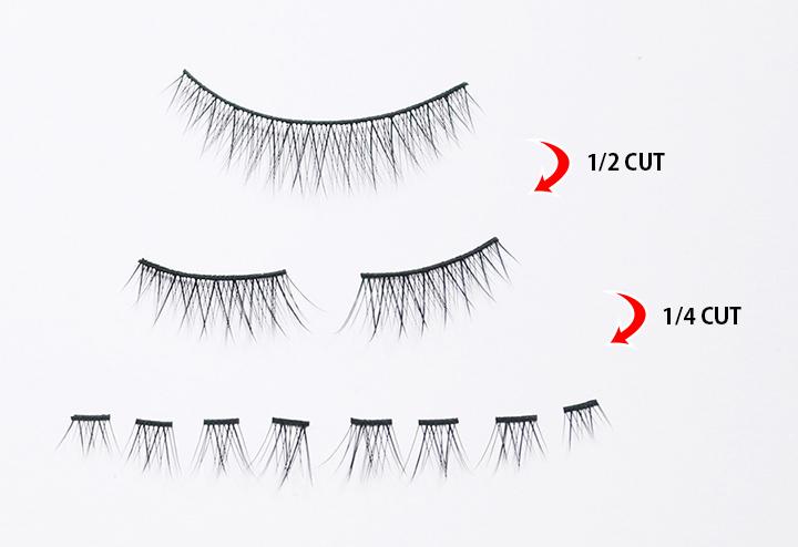 要想擁有大眼妝當然還是離不開假睫毛,兩個假睫毛各剪成4小等分。