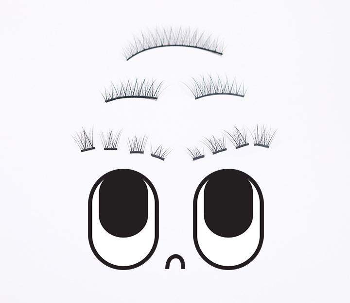 倒過來的排列順序會讓假睫毛看起來自然很多。