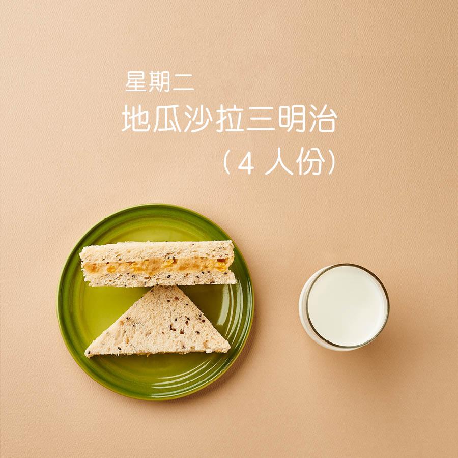 地瓜沙拉三明治 首先準備 2個煮熟的地瓜和罐裝玉米粒一匙 切碎的洋蔥和美乃滋以及一匙的蜂蜜